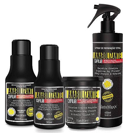 Kit Fortificante Capilar - Shampoo 300ml + Condicionador 300ml + Máscara 250g + Spray de Reparação 400 ml NatuMaxx
