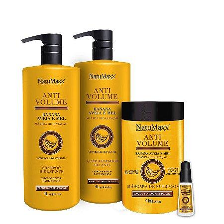 Kit AntiVolume - Shampoo 1 lt + Condicionador 1lt + Máscara 1 kg + Sérum 60ml  NatuMaxx