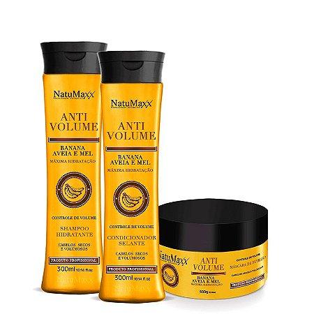 Kit AntiVolume - Shampoo 300ml + Condicionador 300ml + Máscara 300g NatuMaxx