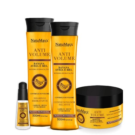 Kit AntiVolume - Shampoo 300ml + Condicionador 300ml + Máscara 300g + Sérum 60ml  NatuMaxx
