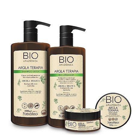 Escova Bio Amazônica – Shampoo Detox 1L + Bio Ativador 1 +Argila em Pó 150g NatuMaxx