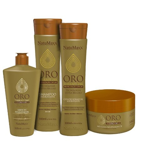 Kit Oro Therapy - Shampoo 300ml + Condicionador 300ml + Máscara 300g + Leave in 300ml NatuMaxx