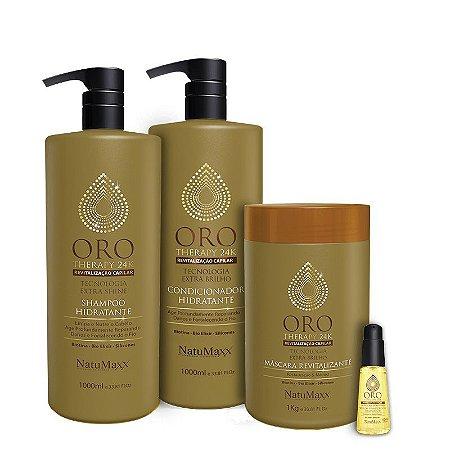 Kit Oro Therapy - Shampoo 1lt + Condicionador 1lt + Máscara 1kg + Sérum 60 ml NatuMaxx