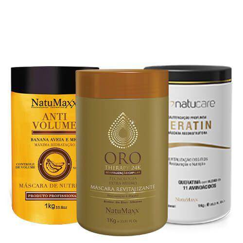 Cronograma AntiVolume 1kg + Keratin 1kg + Oro Therapy 1 Kg NatuMaxx