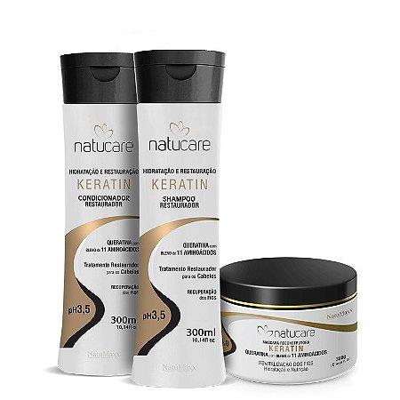 Kit Keratin - Shampoo 300ml + Condicionador 300ml + Máscara 300g  NatuMaxx