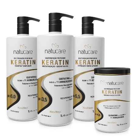 Kit Profissional Keratin Shampoo 1lt + Defrizante 1 lt + Queratina 1 lt + Máscara 1kg NatuMaxx
