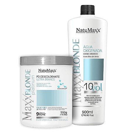 Kit Descoloração MaxxBLONDE - Pó Platimum Ultra Branco 500g + Água Oxigenada 10 Vol NatuMaxx