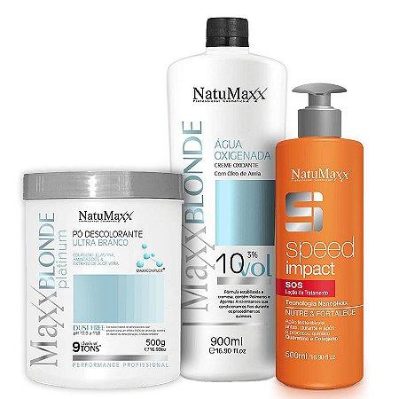 Kit Descoloração MaxxBLONDE - Pó Platimum Ultra Branco 500g + Água Oxigenada 10Vol + Speed Impact 500ml NatuMaxx