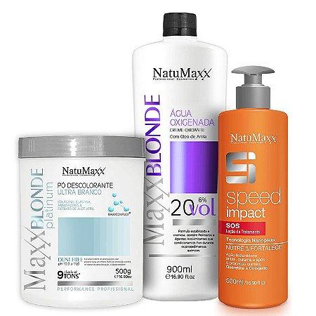 Kit Descoloração MaxxBLONDE - Pó Platimum Ultra Branco 500g + Água Oxigenada 20Vol + Speed Impact 500ml NatuMaxx