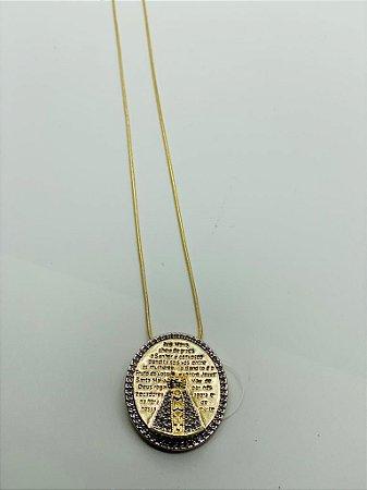 Conjunto de cordão e pingente ns senhora com zircônia folhado a ouro M2600 R45 / M6064
