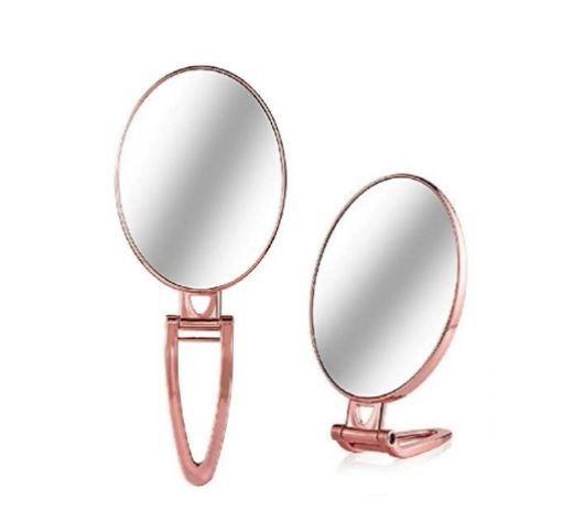 Espelho Oval de Mão Mesa Duplo Rose