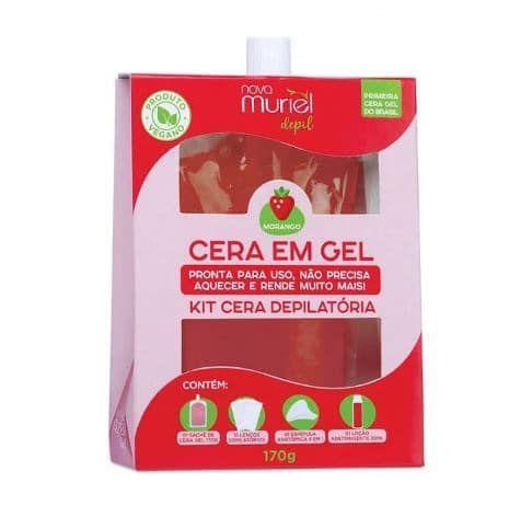 Kit Cera Depilatória Gel Morango Muriel 170g