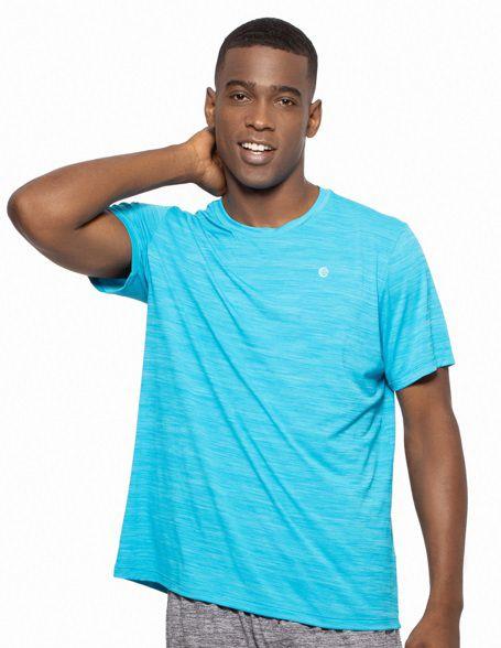 Camiseta Fitness Manga Curta Masculino ROMA Mescla Azul Claro