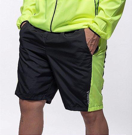 Bermuda Fitness  Masculino ROMA Recorte Lateral Preto/Amarelo Escuro