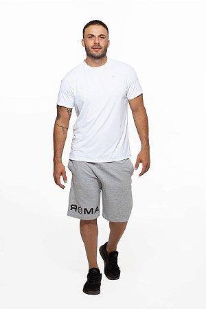 Bermuda Fitness Longa Masculino ROMA Moletom Logo Cinza Claro