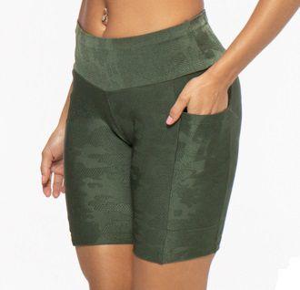 Bermuda Fitness Média Feminino ROMA Bolsos Laterais Textura Verde Escuro