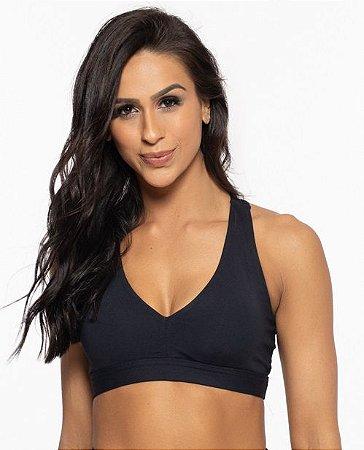 Top Fitness Médio Impacto Emana Feminino ROMA Básico Preto