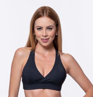 Top Fitness Médio Impacto Emana Feminino ROMA Cruzado Preto