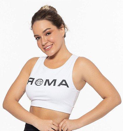 Top Fitness Médio Impacto Feminino ROMA Cropped Logo Branco