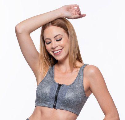 Top Fitness Médio Impacto Feminino ROMA Ziper Frente Cinza Médio