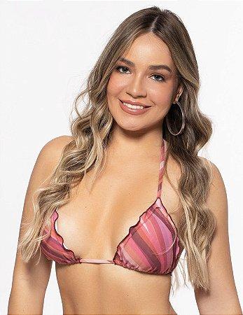 Top Moda Praia Cortininha Feminino ROMA Frufru Estampado Rosa Médio