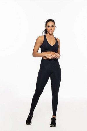 Calça Legging Fitness Longa Feminino ROMA Básica Preto