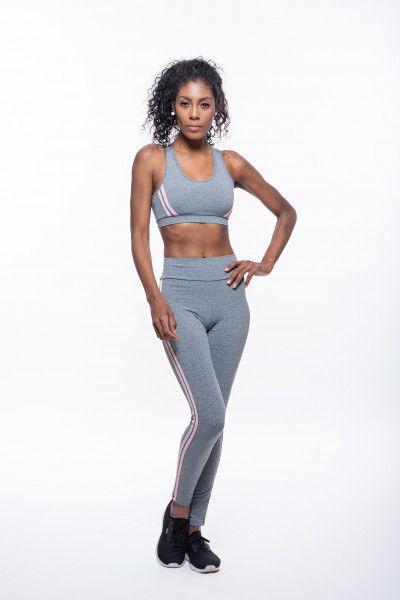 Calça Legging Fitness Longa Feminino ROMA Fita Lateral Cinza Médio