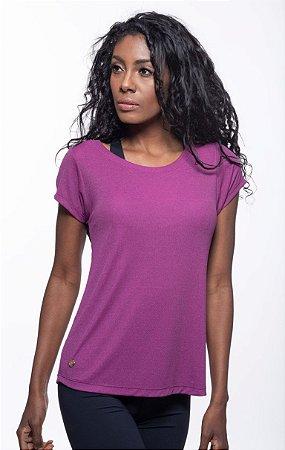 Camiseta Fitness Manga Curta Feminino ROMA Decote Tela Costas Rosa Escuro
