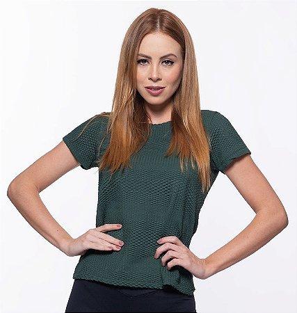 Camiseta Fitness Manga Curta Feminino ROMA Textura Verde Escuro