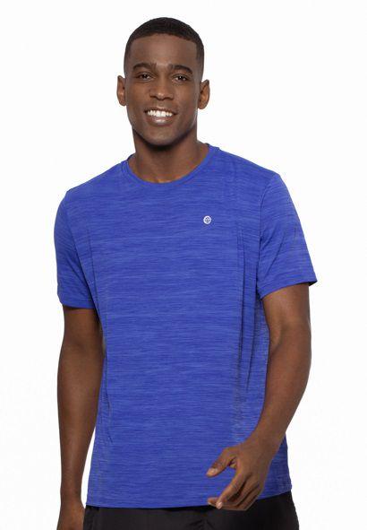Camiseta Fitness Manga Curta Masculino ROMA Mescla Azul Médio