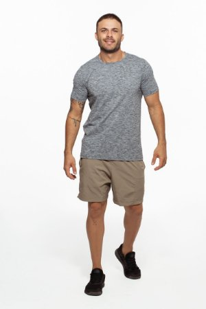 Camiseta Fitness Manga Curta Masculino ROMA Mescla Cinza Escuro