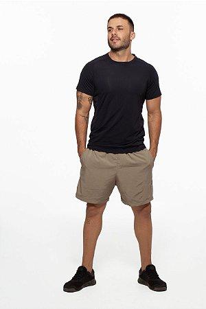 Camiseta Fitness Manga Curta Masculino ROMA Recorte Lateral Preto