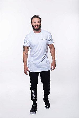 Camiseta Longline Manga Curta Masculino ROMA Hard Work Branco