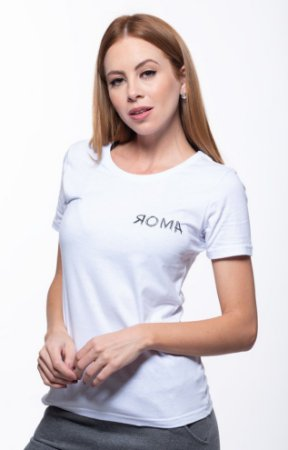 Camiseta Manga Curta Feminino ROMA Hard Work Branco