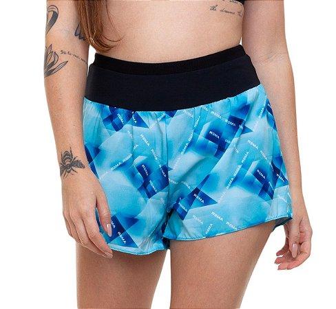 Shorts Fitness Curto Feminino ROMA Logo Estampado Azul Médio