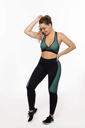 Calça Legging Fitness Longa Feminino ROMA Tela Preto/Verde Escuro