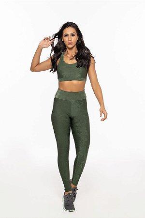 Calça Legging Fitness Longa Feminino ROMA Textura Verde Escuro