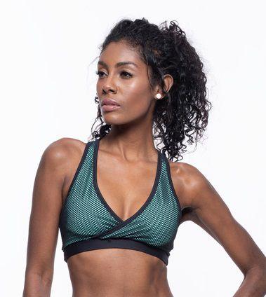 Top Fitness Médio Impacto Feminino ROMA Tela Preto/Verde Escuro