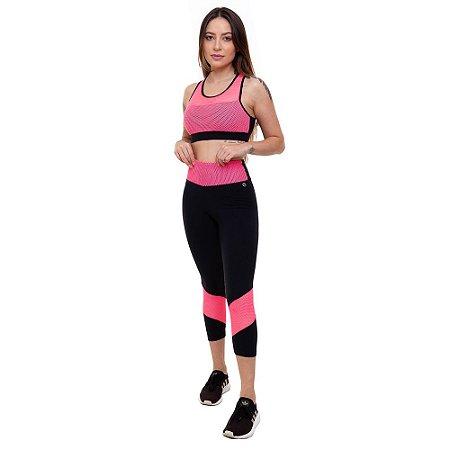 Calça Corsário Fitness Feminino ROMA Preto/Pink