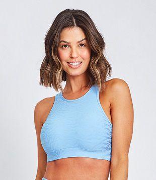 Top Fitness Médio Impacto Feminino ROMA Nadador Azul Claro