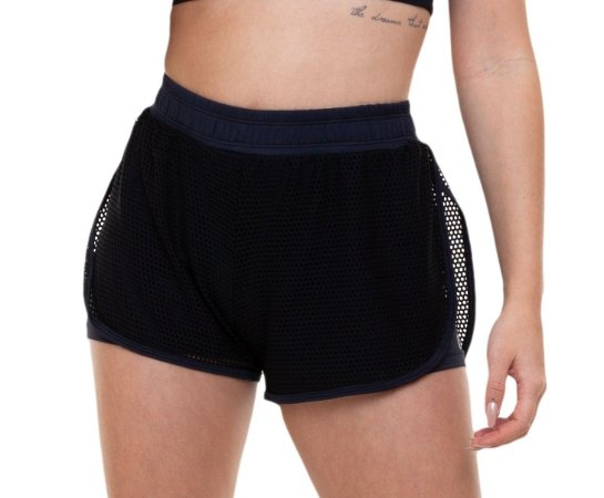 Shorts Fitness Curto Feminino ROMA Tela sobreposta  Preto