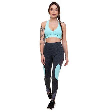 Calça Legging Fitness Longa Feminino ROMA Detalhe Lateral Cinza