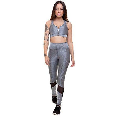 Calça Legging Fitness Longa Feminino ROMA Prata