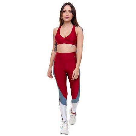 Calça Legging Fitness Longa Feminino ROMA Recorte Lateral Vermelho Escuro