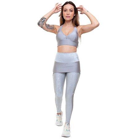 Calça Legging Longa  Fitness Feminino ROMA Legging Saia Prata