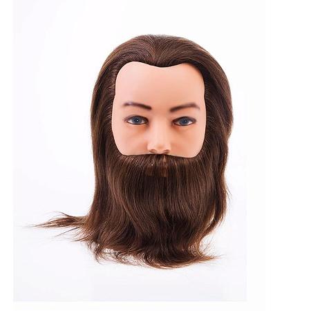 Cabeça de Boneco Para Treino Cabelo 100% Natural c/ barba