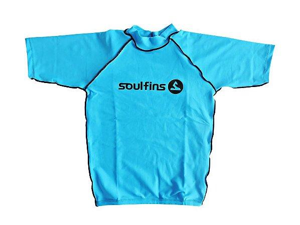 Camiseta de Lycra Soul Fins UV Protection 50+   Manga Curta Azul2 ... 588a3a92500cc