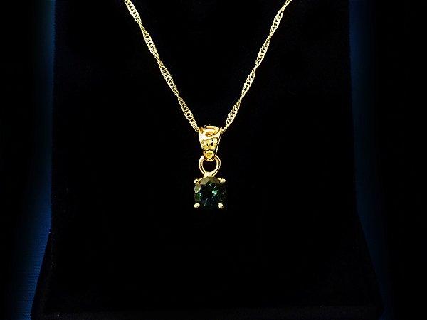 Moldavita Genuína Lapidada em Pingente de Prata 925 Banhada a Ouro
