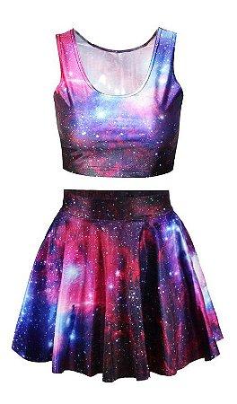 Conjunto Top + Saia - Nebulosa