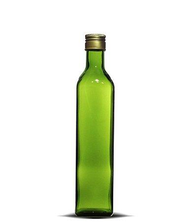 Garrafa Verde Azeite Quadrado Grande 500ml | 24 unidades | Com Tampa
